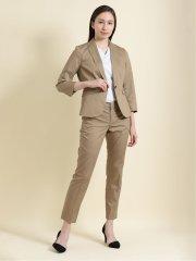 クールマックス/COOLMAX 1ボタンジャケット+スカート+パンツ ヘリンボン ベージュ