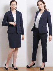 高機能ポリエステル 1ボタンジャケット+スカート+パンツ 紺グレンチェック