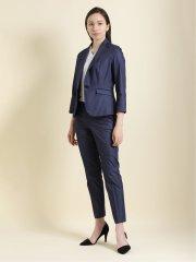 クールマックス/COOLMAX 1ボタンジャケット+スカート+パンツ ヘリンボン紺