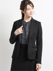 ストレッチウォッシャブル ポンチ1ボタンジャケット+スカート 黒