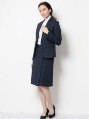 ストレッチウォッシャブル ポンチVカラージャケット+スカート 紺