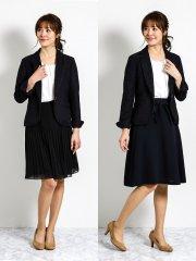 ミックスツイード1釦ジャケット+2スカート 紺