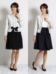 ミックスツイードノーカラージャケット+2スカート 白黒