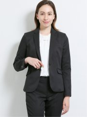 高機能ポリエステル 1ボタンジャケット+スカート+パンツ 黒チェック