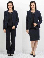 高機能ポリエステル 1釦ジャケット+スカート+スラックス チェック紺