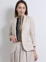 ストレッチウォッシャブル 1釦7分袖ジャケット+スカート ベージュ