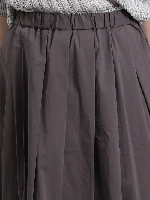 綿混ストレッチ タックロングスカート