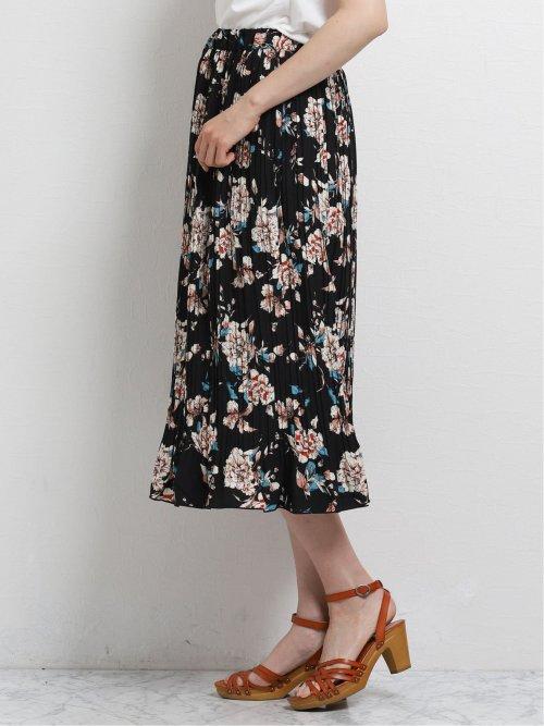 花柄プリント プリーツスカート