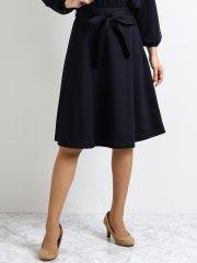 ニットジャージーセットアップリボン付きフレアースカート 紺