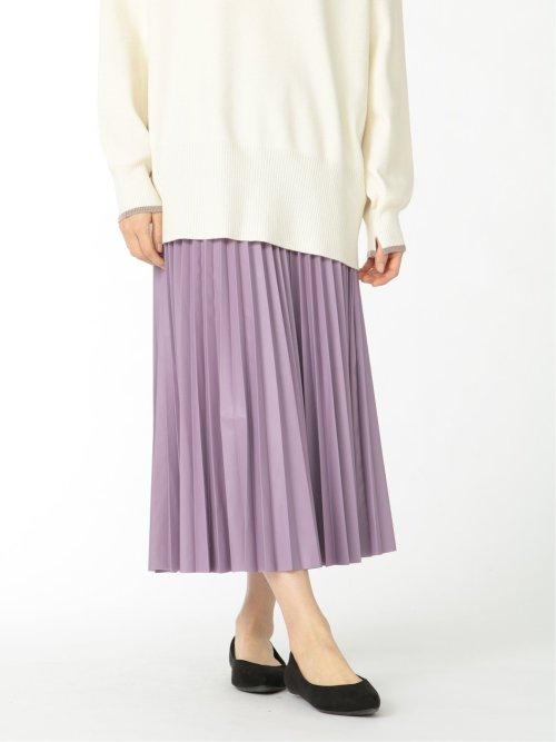 シンセティックレザーライク プリーツスカート