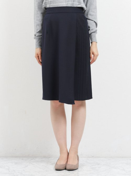 サイドプリーツスカート ヘリンボン