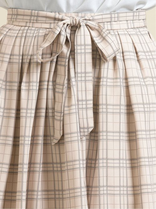 チェック柄タックフレアースカート