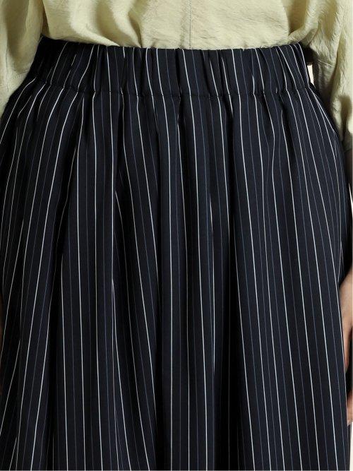 サテンストライプ ロングフレアースカート