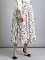 花柄プリントギャザー ロングスカート