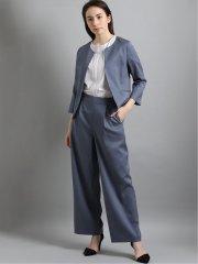 麻調合繊 セットアップ カラーレス7分袖ジャケット ダルブルー