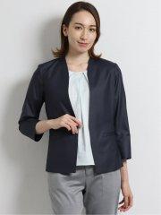 ボンフォルト/BONNEFORTE セットアップVカラー8分袖テーラージャケット 紺