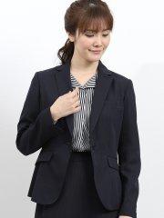 ウォッシャブル セットアップ1釦ジャケット シャドーストライプ紺