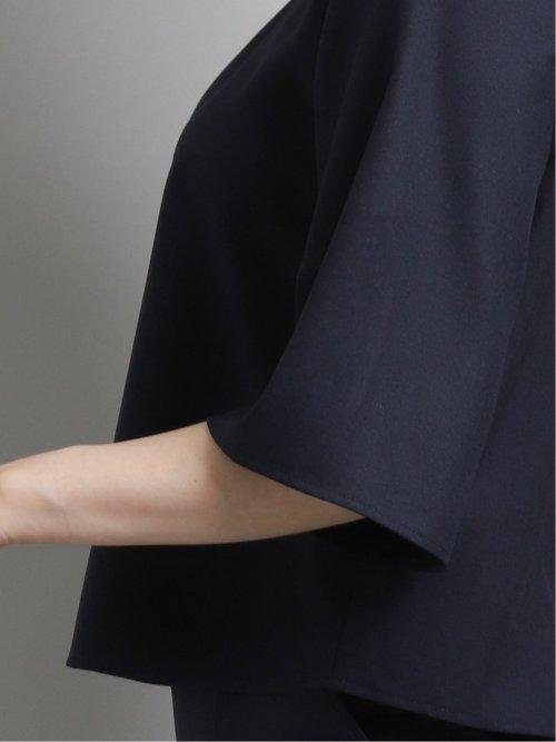 綿麻ライク セットアップ 5分袖プルオーバーブラウス 紺