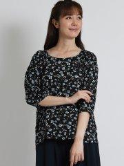 花柄シャーリング7分袖プルオーバー