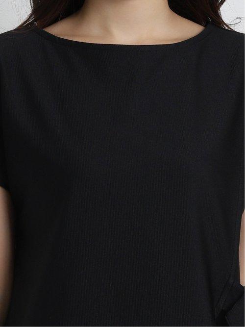 ストレッチリップル アシンメトリーレイヤード半袖Tシャツ