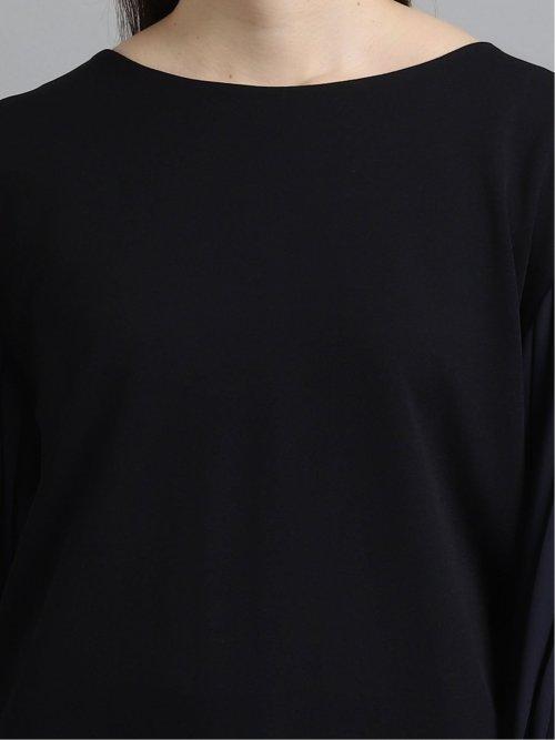 ストレッチジャージ×サテン 7分袖ゆるプルオーバー