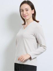 【DRESS T-SHIRT】抗菌防臭ストレッチポンチ Vネック長袖プルオーバー