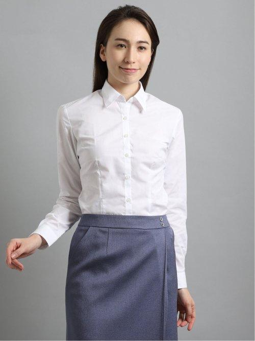 【白無地】形態安定レギュラーカラー ブロード長袖シャツ