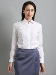 【白無地】形態安定レギュラーカラースキッパー ブロード長袖シャツ
