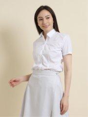 【白無地】形態安定レギュラーカラースキッパー ブロード半袖シャツ