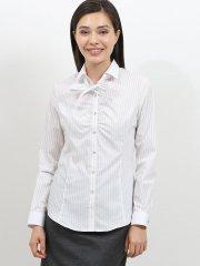 形態安定ギャザーリボン付き長袖シャツ