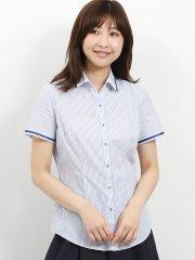 形態安定レギュラーカラースキッパーテープ使い半袖シャツ