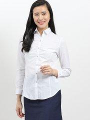 形態安定レギュラーカラースキッパー長袖ギャザーシャツ