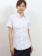 形態安定レギュラーカラー スキッパーギャザー半袖シャツ