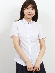 形態安定レギュラーカラー スキッパーギャザーフリル半袖シャツ