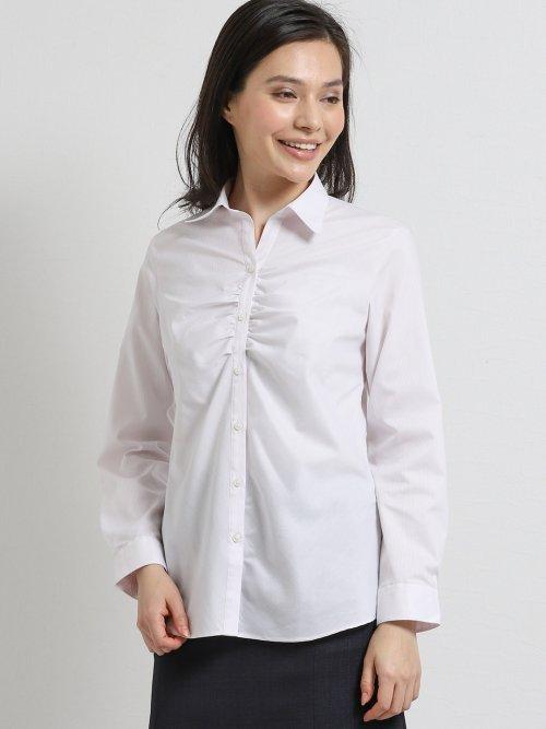 形態安定ストレッチ スキッパーギャザー長袖シャツ