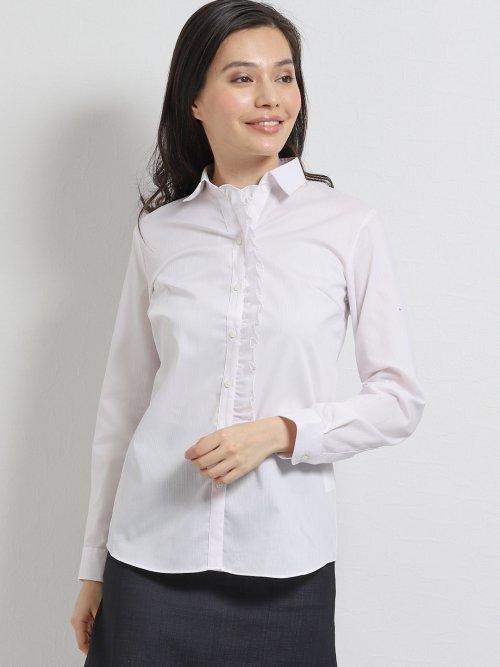 形態安定ストレッチ スキッパーギャザーフリル長袖シャツ