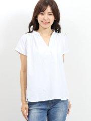 形態安定スキッパーギャザーノースリーブシャツ
