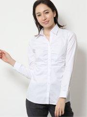 形態安定レギュラーカラー スキッパーギャザー長袖シャツ