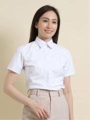 【透け防止】【白無地】形態安定レギュラーカラー半袖シャツ