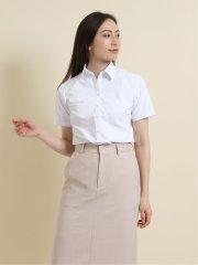 【透け防止】【白無地】形態安定レギュラーカラースキッパー半袖シャツ