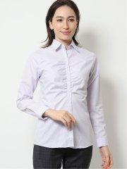 形態安定レギュラーカラー ギャザー長袖シャツ