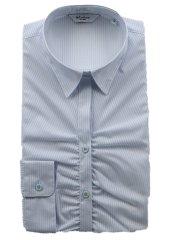 形態安定 ストライプ柄レギュラーカラースキッパー長袖シャツ