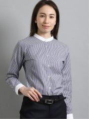 形態安定 ストライプ柄バンドカラー長袖シャツ