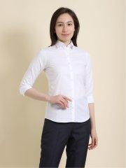 形態安定 ミニチェック柄レギュラーカラー7分袖シャツ