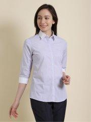 形態安定 チェック柄レギュラーカラー7分袖シャツ