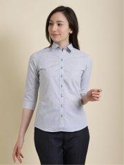 形態安定 ストライプ柄レギュラーカラー7分袖シャツ