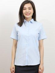 形態安定ストレッチ ショートワイドカラー半袖シャツ