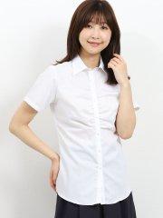 形態安定 レギュラーカラースキッパーギャザー半袖シャツ